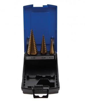 Stufenbohrer-Set, titannitriert, 4-30 mm