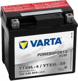 Varta Powersports AGM 504012003 YTX5L-BS 12V 4Ah 80 A