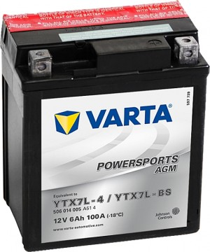 Varta Powersports AGM 506014005 YTX7L-BS 12V 6Ah 100 A
