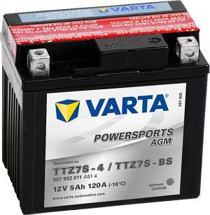 Varta Powersports AGM 507902011 TTZ7S-BS 12V 5Ah 120 A
