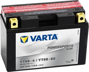 Varta Powersports AGM 509902008 YT9B-BS 12V 8Ah 115 A