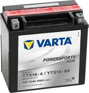 Varta Powersports AGM 512014010 YTX14-BS 12V 12Ah 200 A