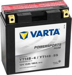 Varta Powersports AGM 512903013 YT14B-BS 12V 13Ah 190 A
