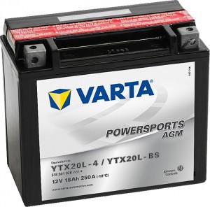 Varta Powersports AGM 518901026 YTX20L-BS 12V 18Ah 250 A
