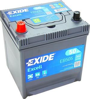 EXIDE EB505 Excell 12V 50Ah 360A Pluspol links