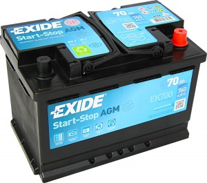 EXIDE EK700 AGM VLRA Start Stop 12V 70Ah 760A