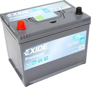 EXIDE EA755 Premium 12V 75Ah 630A Pluspol links