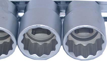 Steckschlüssel-Einsätze 12,5 (1/2), 8-24 mm, 12-kant, 16-tlg.