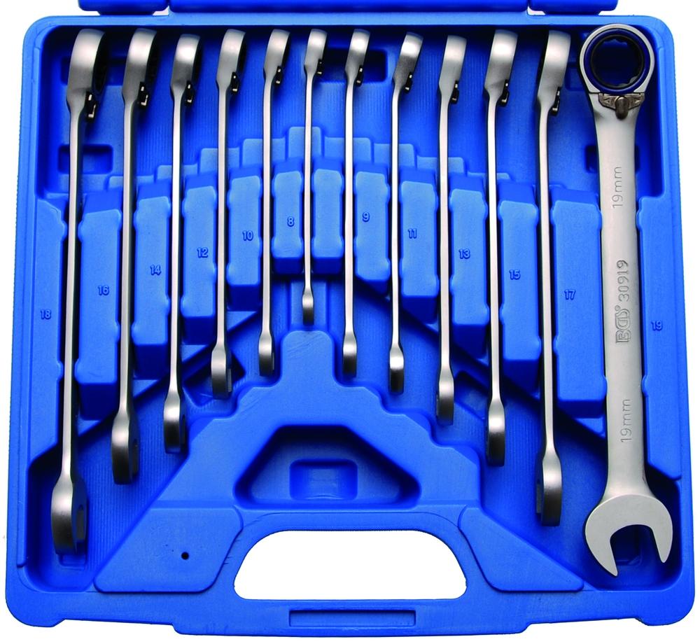 Ratschenring-Maulschlüssel Set, 8-19 mm,12-tlg., umschaltbar