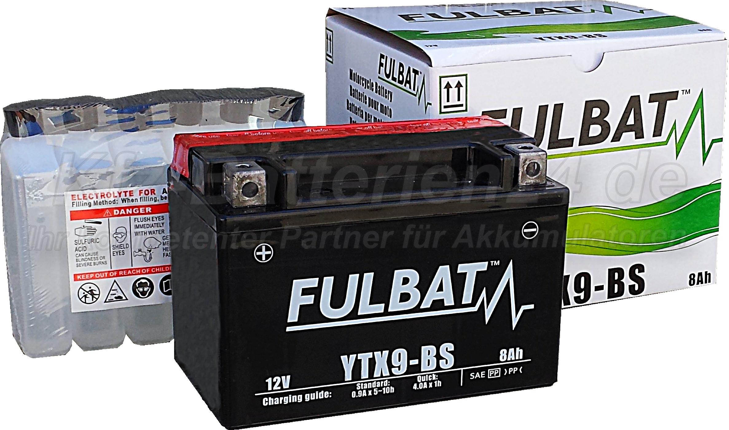 AGM Vliesbatterie Motorradbatterie 50812 YTX9-BS 8Ah 12V
