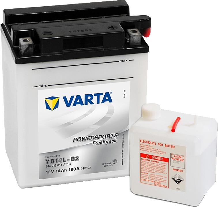 Varta Powersports FP 514013014 YB14L-B2 12V 14Ah 190 A