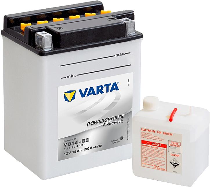 Varta Powersports FP 514014014 YB14-B2 12V 14Ah 190 A