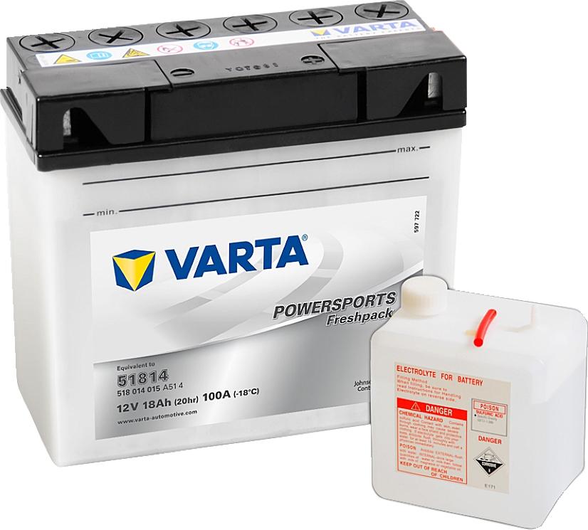 Varta Powersports FP 518014015 51814 12V 18Ah 100 A