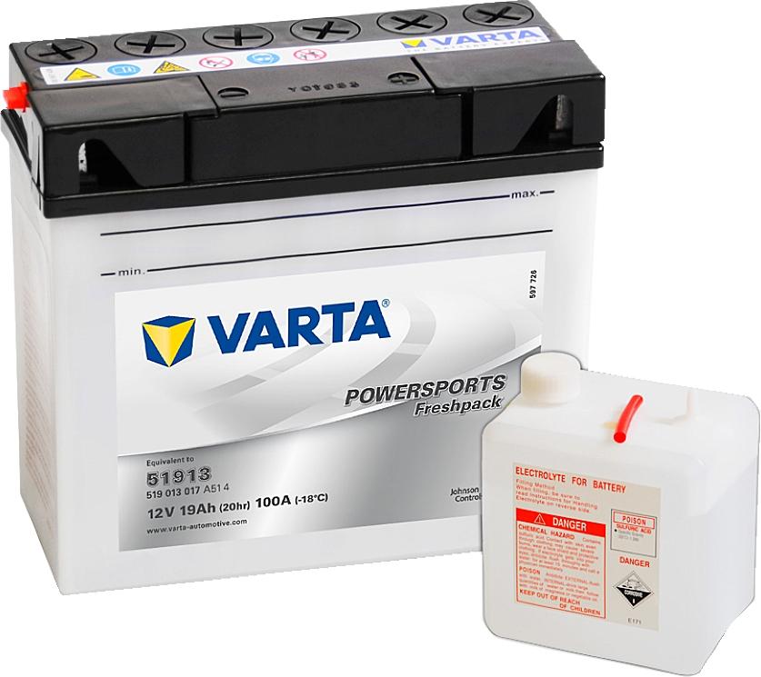 Varta Powersports FP 519013017 51913 12V 19Ah 100 A