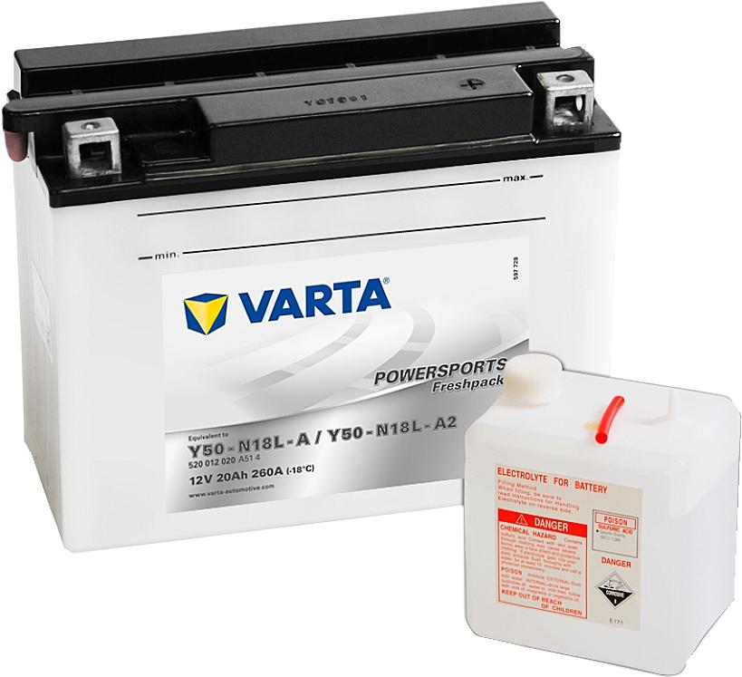 Varta Powersports FP 520012020 Y50N18L-A2 12V 20Ah 260 A