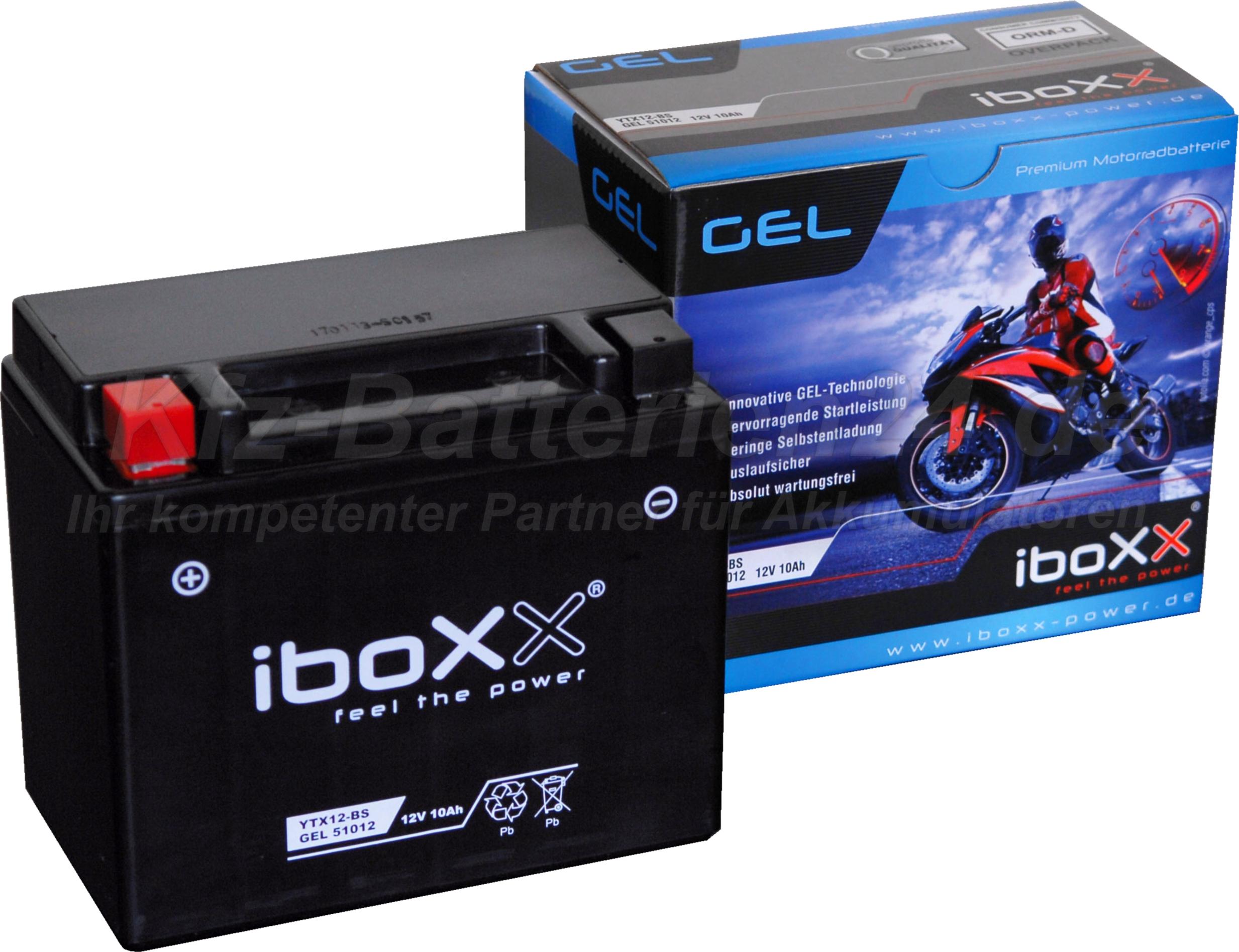 GEL Motorradbatterie 12V 10Ah 51012 YTX12-BS