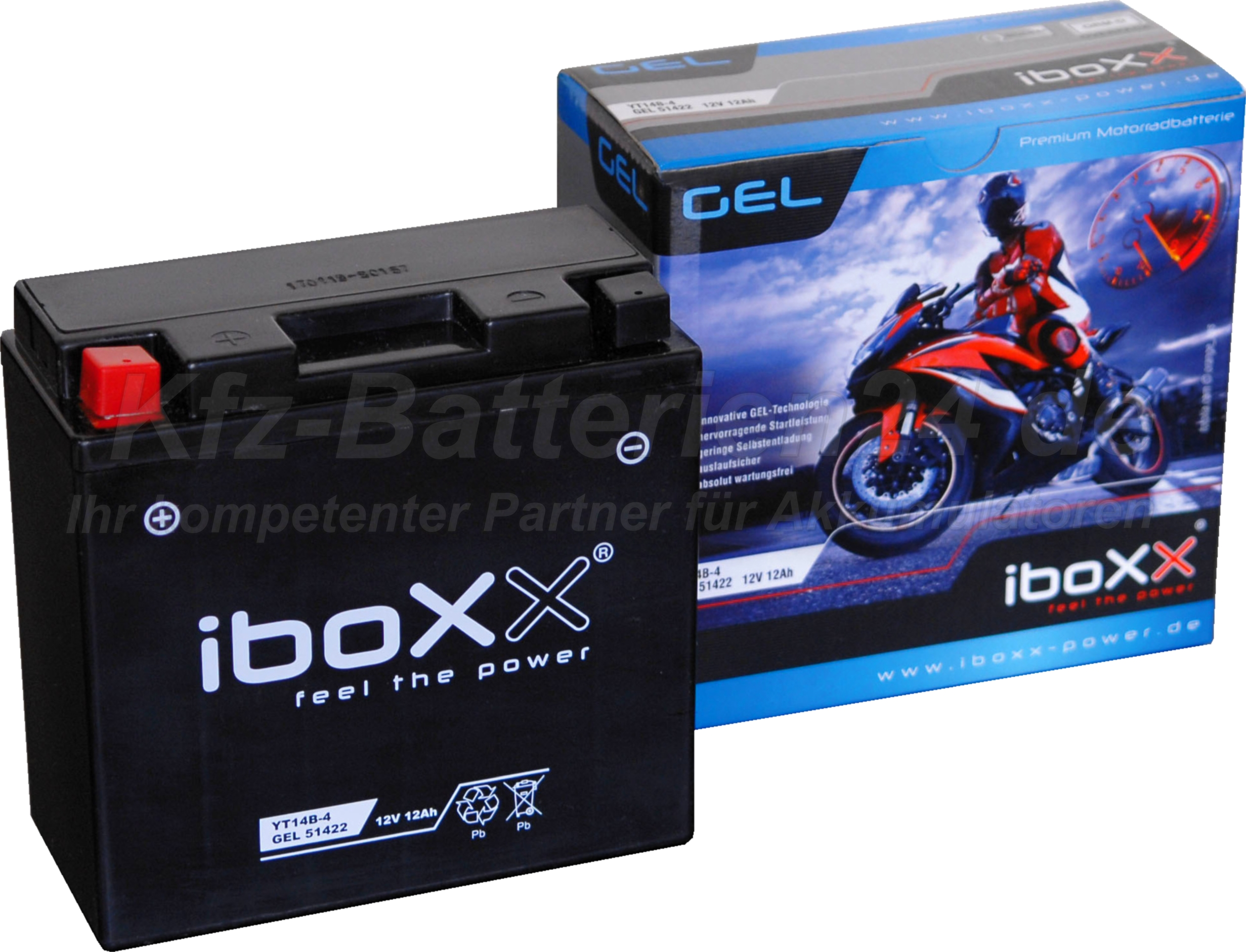 GEL Motorradbatterie 12V 12Ah 51422 YT1B-4 Gelbatterie