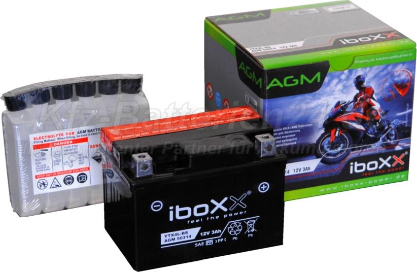 AGM Vliesbatterie Motorradbatterie 50314 YTX4L-BS 3Ah 12V