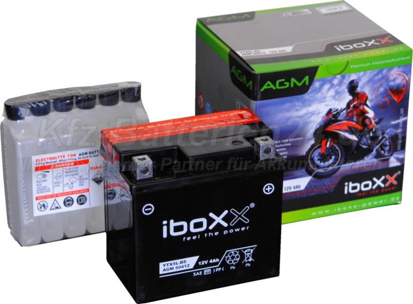 AGM Vliesbatterie Motorradbatterie 50412 YTX5L-BS 4Ah 12V CTX5L-BS