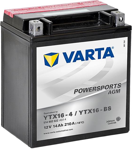 Varta Powersports AGM 514902022 YTX16-BS 12V 14Ah 210 A
