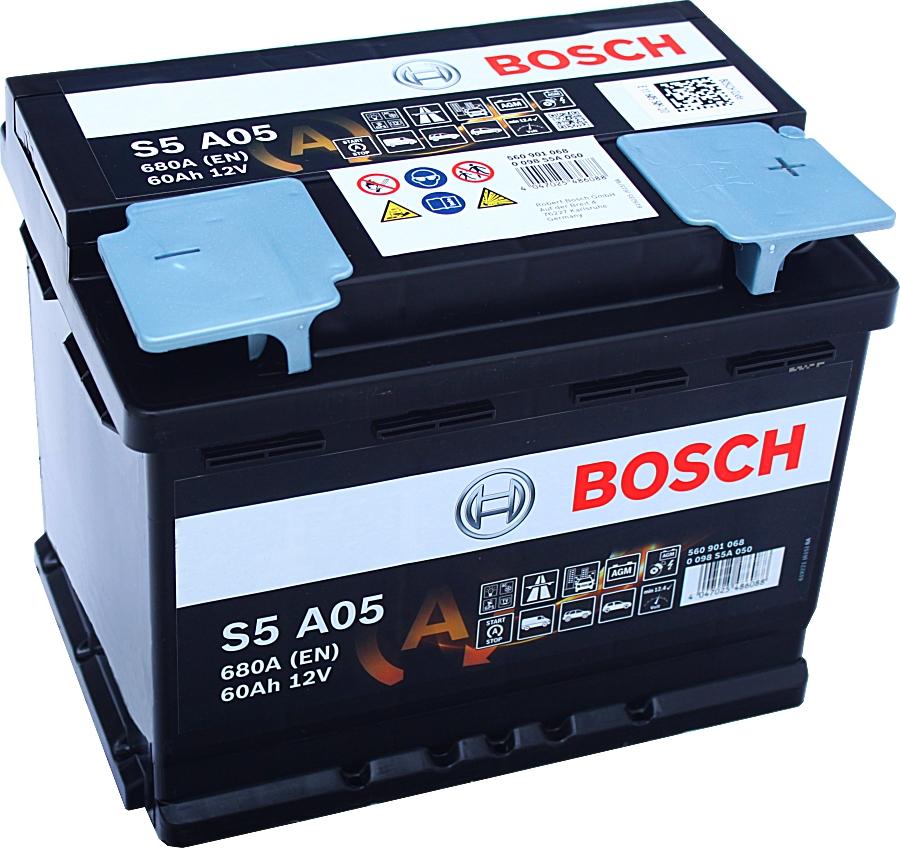 Bosch S5 A05 AGM VLRA Start Stop 12V 60Ah 680A 0 098 S5A 050