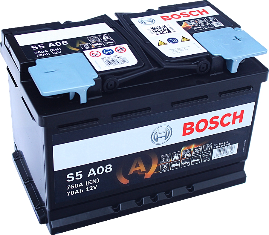 Bosch S5 A08 AGM VLRA Start Stop 12V 70Ah 760A 0 098 S5A 080