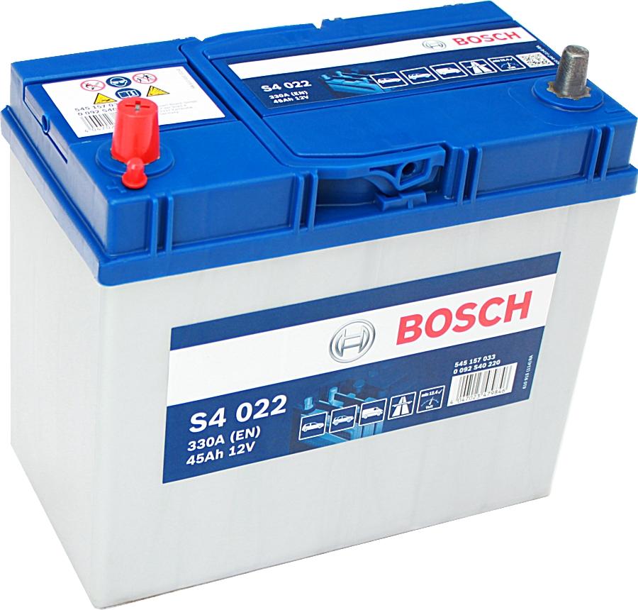 Bosch Silver S4022 12V 45Ah 330A 0092S40220 Pluspol links