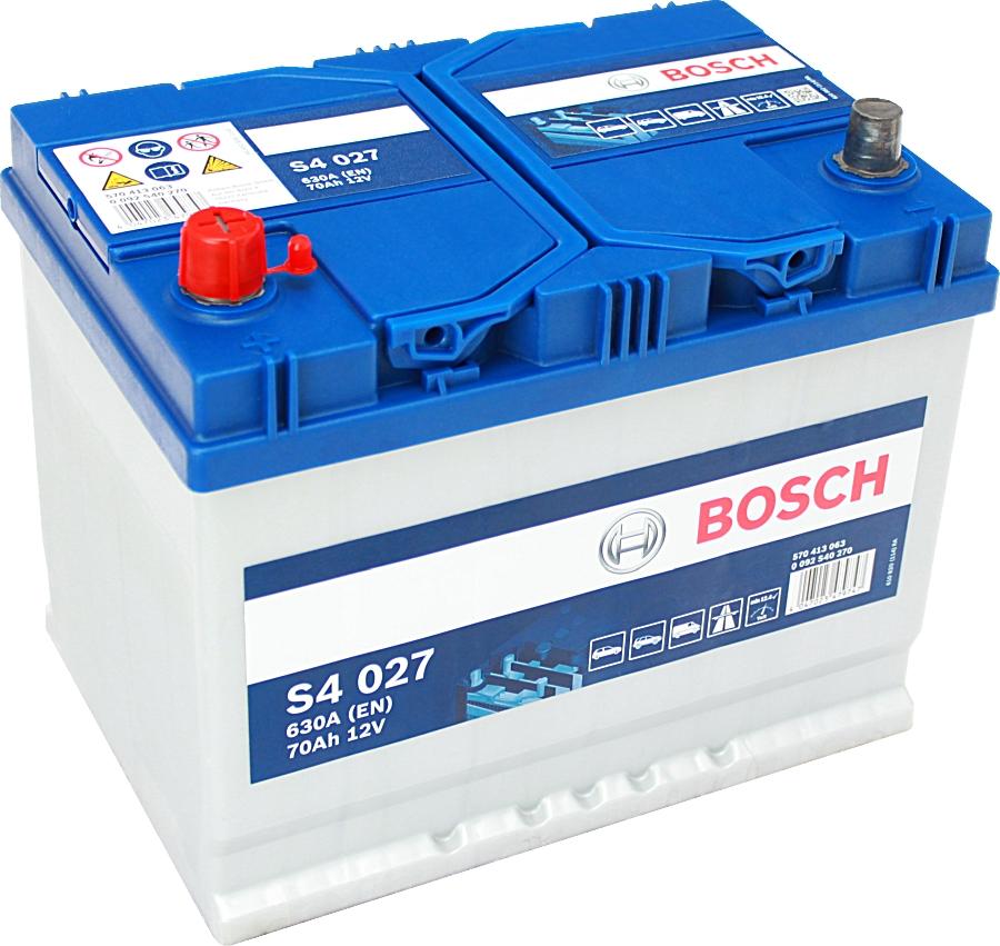 Bosch Silver S4027 12V 70Ah 630A 0092S40270 Pluspol links