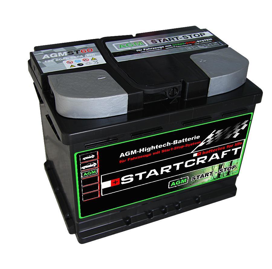 Startcraft AGM VLRA Start Stop Vliesbatterie ST60 12V 60Ah 560A