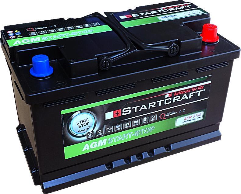 Startcraft AGM VLRA Start Stop Vliesbatterie ST80 12V 80Ah 790A