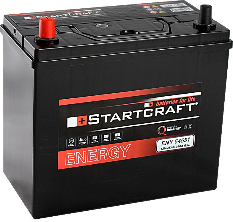 Startcraft Energy Asia 54551 12V 45Ah 360A Pluspol links