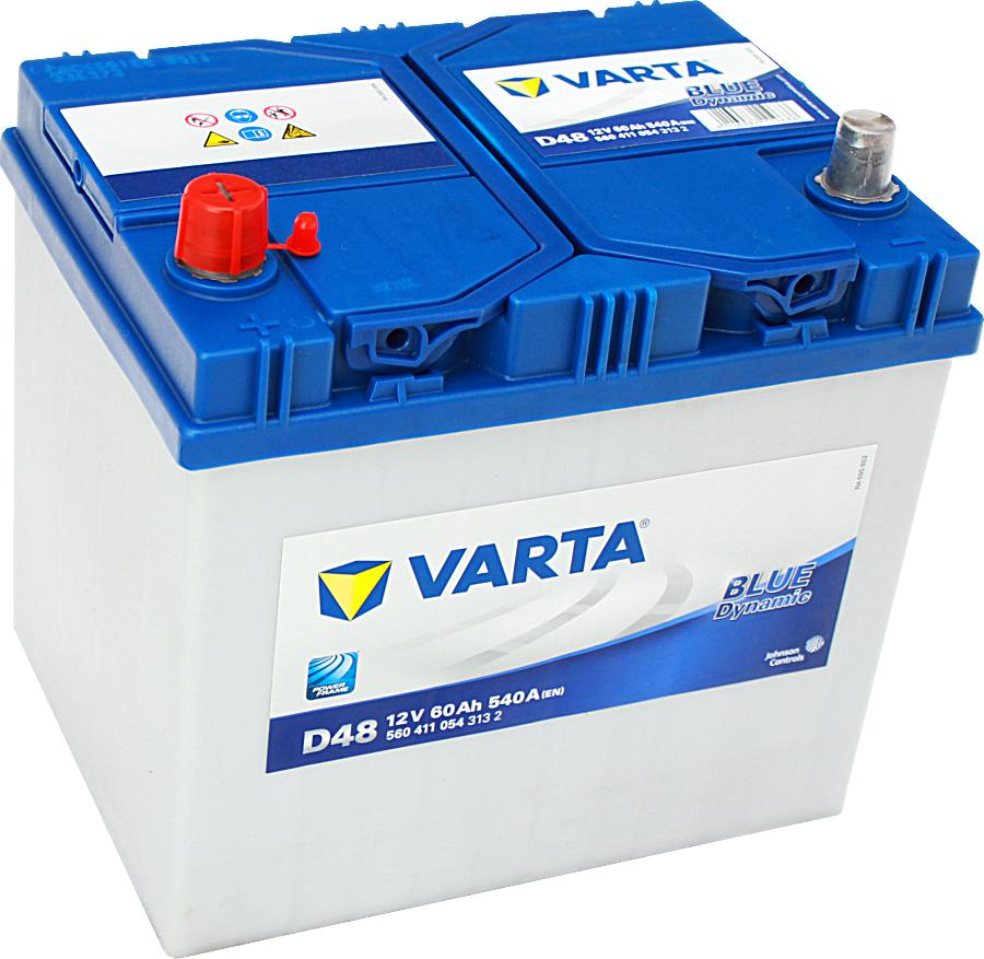 Varta D48 Blue Dynamic 12V 60Ah 540A 560411054 Pluspol links