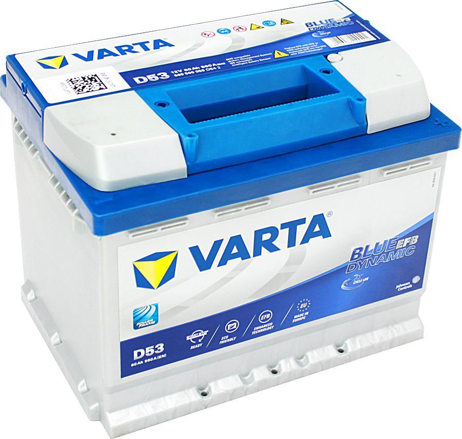 Varta D53 EFB BLUE Dynamic 12V 60Ah 560A 560500056