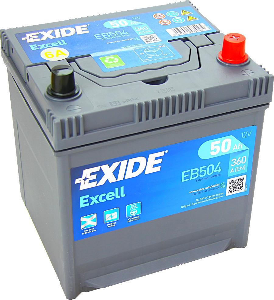 EXIDE EB504 Excell 12V 50Ah 360A