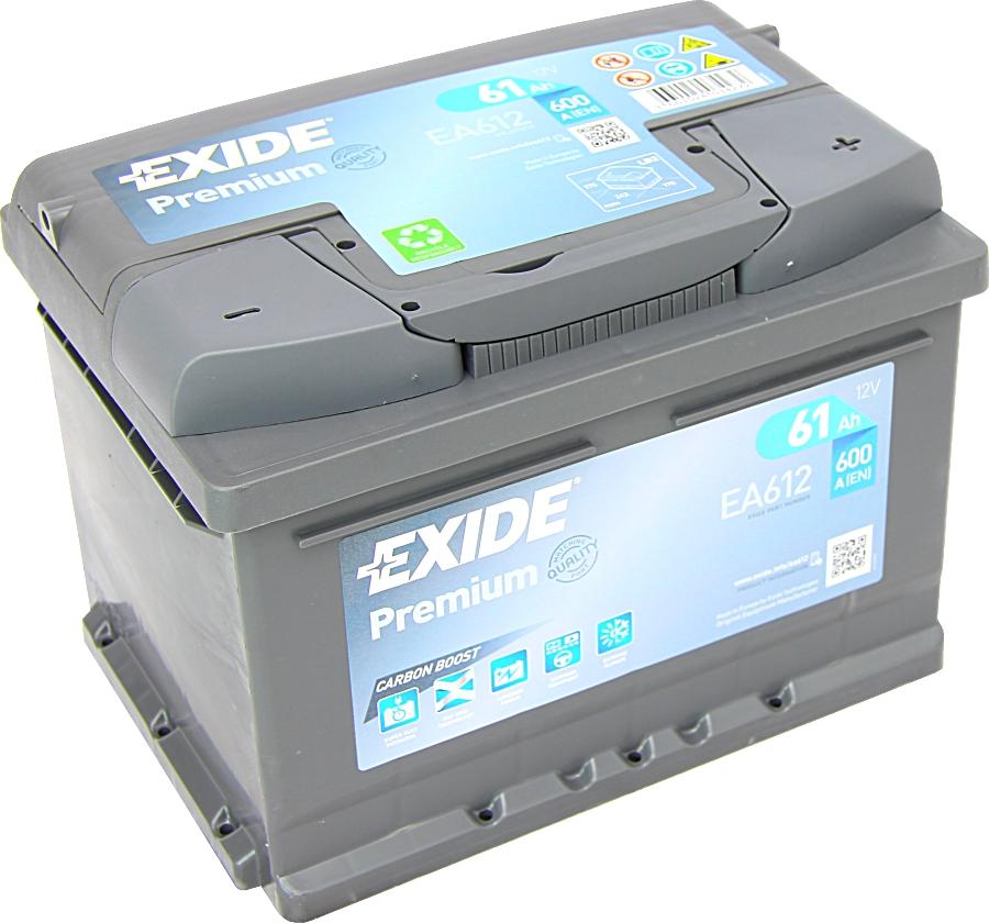 EXIDE EA612 Premium Carbon Boost 12V 61Ah 600A
