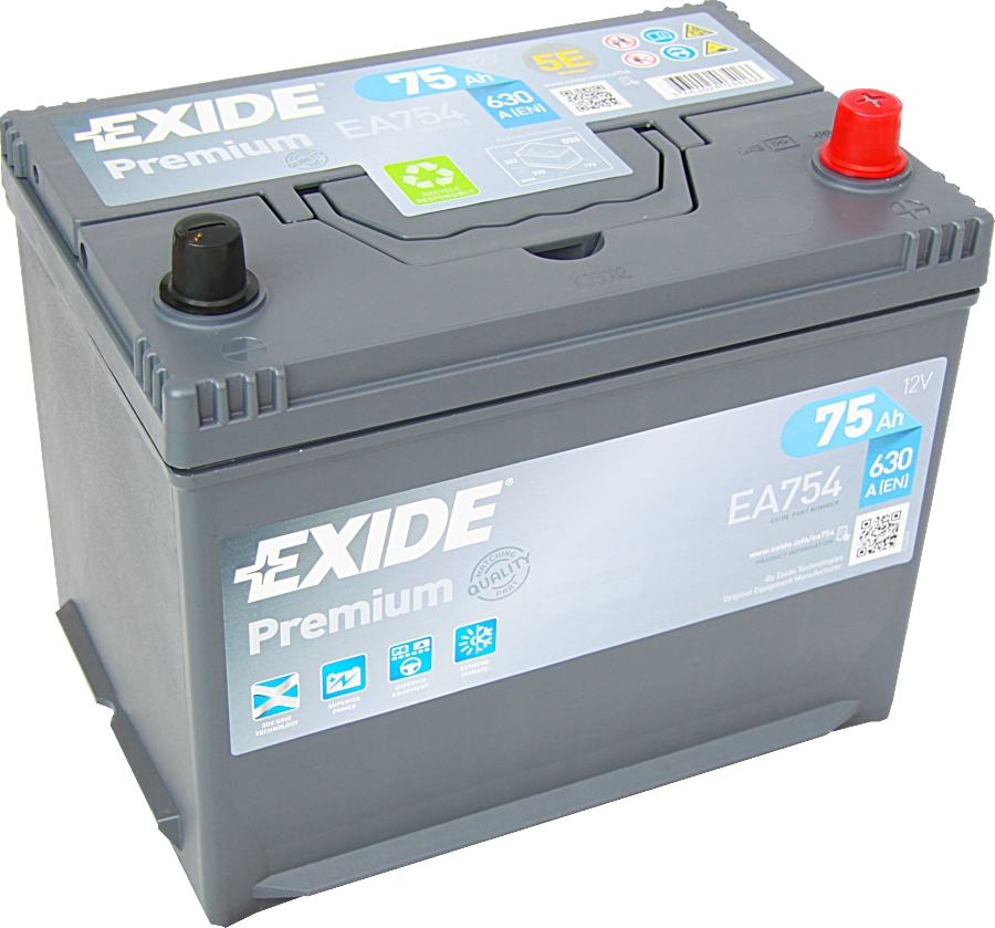autobatterie exide ea754 carbon boost 12v 75ah 630a. Black Bedroom Furniture Sets. Home Design Ideas