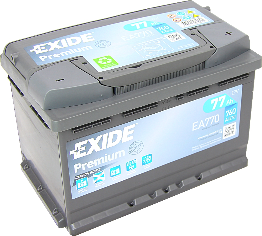 autobatterie exide ea770 carbon boost 12v 77ah 760a g nstig kaufen. Black Bedroom Furniture Sets. Home Design Ideas