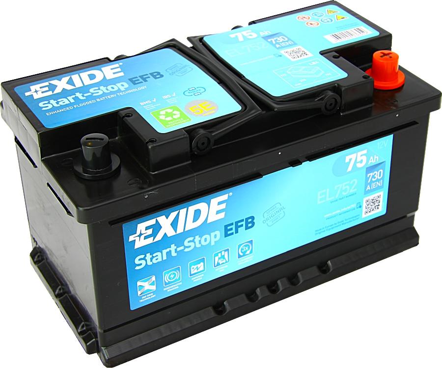 EXIDE EL752 EFB Start Stop 12V 75Ah 730A