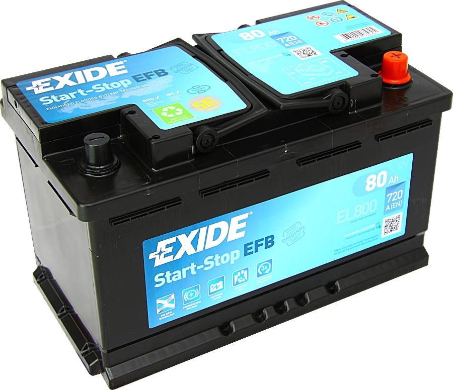 autobatterie exide el800 efb start stop 12v 80ah 720a. Black Bedroom Furniture Sets. Home Design Ideas