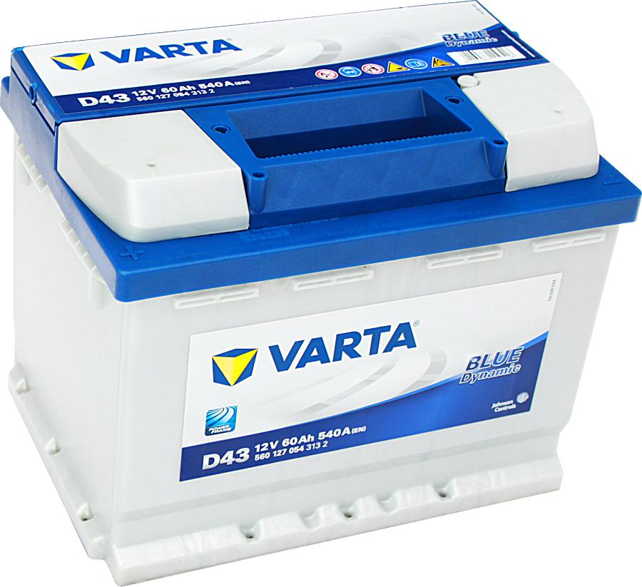 Varta D43 Blue Dynamic 12V 60Ah 540A 560127054 Pluspol links