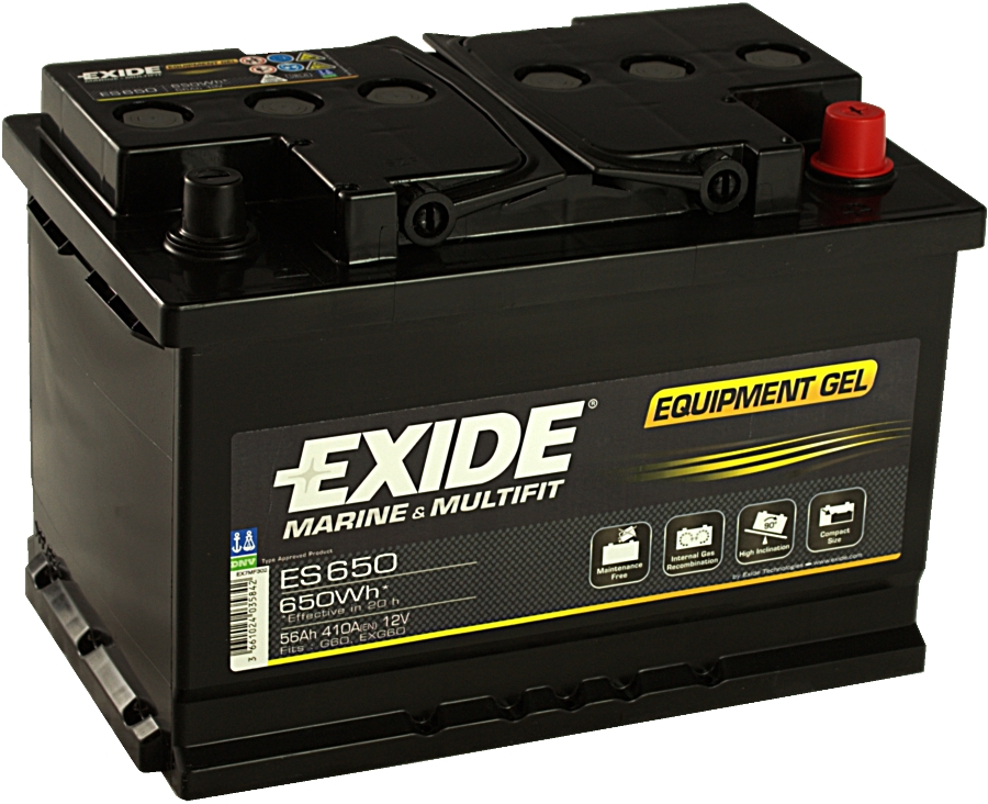 EXIDE ES650 GEL Equipment 12V 56Ah 650Wh